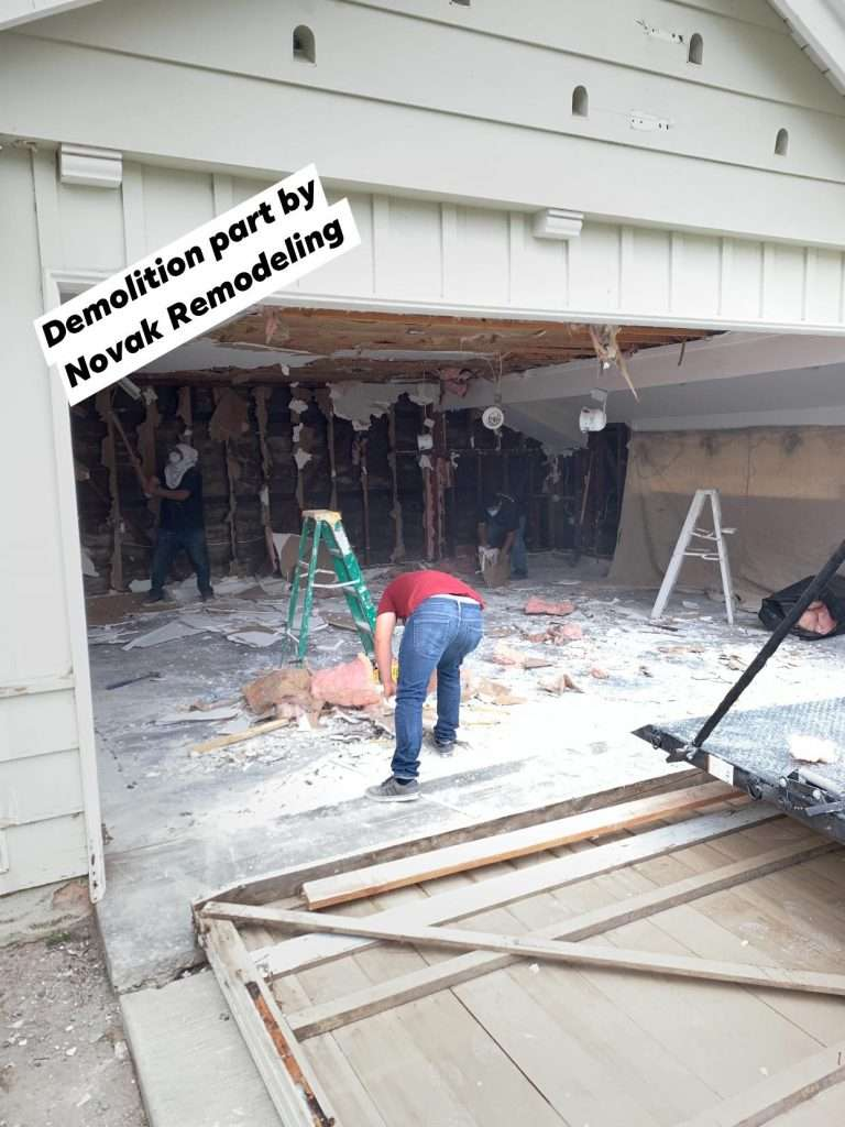 Unpermitted Unit That Was Built Inside In A Double Car Garage Being Demolish And Stripped Back To Original Garage In Order To Be Rebuilt According To City Code And Approved Plans By Novak Remodeling